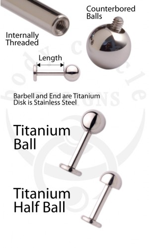 Disk Back Labret Barbells -  Implant Grade Titanium with Titanium Balls or Half Balls