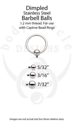 Replacement Dimpled Barbell Balls for Captive Bead Rings - 316LVM Stainless Steel