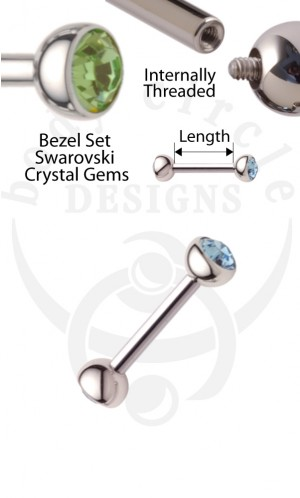 Straight Barbells - 316LVM Stainless Steel with Set Gem Ends
