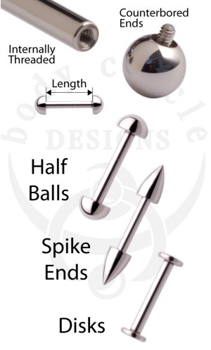 Straight Barbells - 316LVM Stainless Steel with Half-Balls, Spikes, or Disks