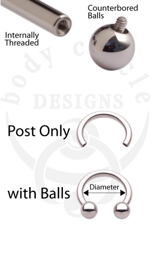 Circular Barbells - 316LVM Stainless Steel - Post Only or with Stainless Steel Balls