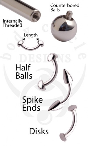 Curved Barbells - 316LVM Stainless Steel with Half Balls, Spikes, or Disks