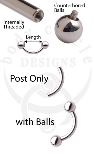 Curved Barbells - 316LVM Stainless Steel - Post Only or with Stainless Steel Balls