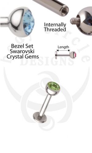 Disk Back Labret Barbells - 316LVM Stainless Steel with Set Gem End