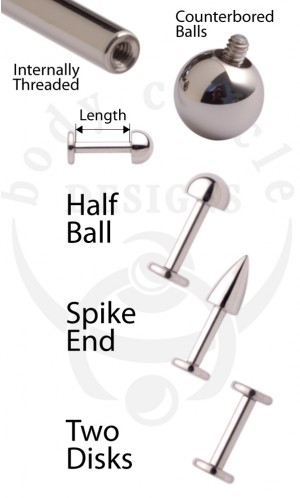 Disk Back Labret Barbells - 316LVM Stainless Steel with a Half Ball, Spike or Disk End