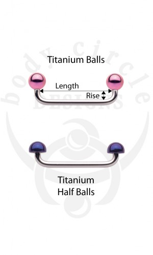 Surface Barbells - 316LVM Stainless Steel with Titanium Balls or Half Balls