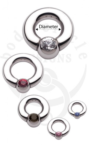 Ball and Socket Rings - 316LVM Stainless Steel with Set Gem Ball
