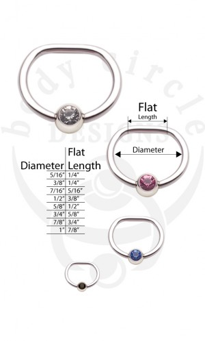 D-Rings - 316LVM Stainless Steel with Set Gem Bead