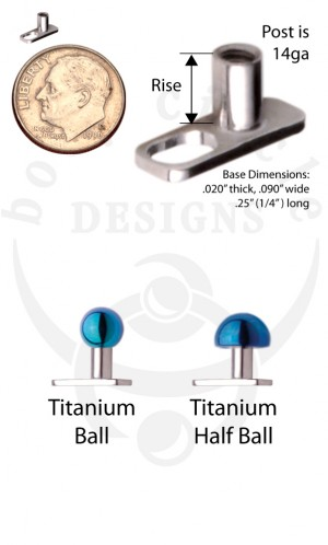 Dermal Anchors - Implant Grade Titanium with Titanium Ball or Half Ball