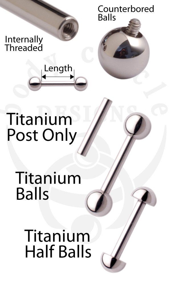 Straight Barbells Implant Grade Titanium Titanium Jewelry All