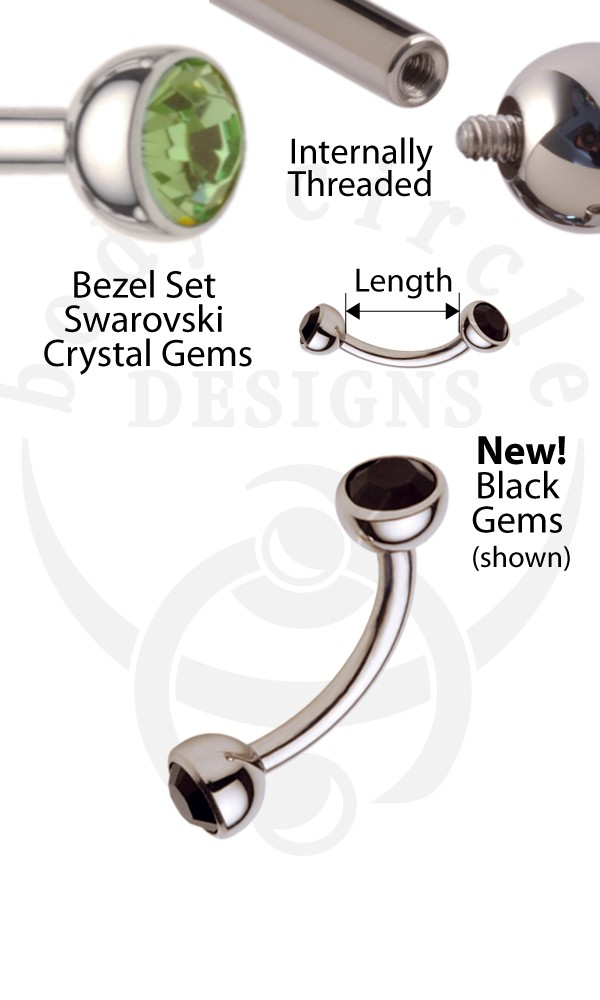 Curved Barbells 316lvm Stainless Steel With Set Gem Ends Eyebrow