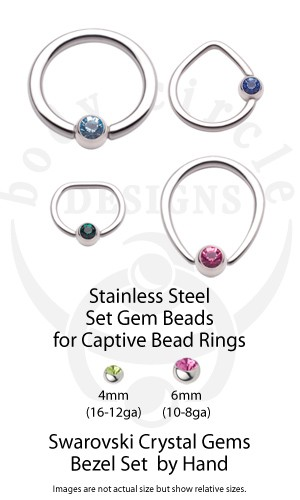 Replacement Set Gem Beads For Captive Bead Rings Browse By Jewelry