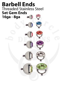 Replacement Barbell Ends - Set Gem Balls - Stainless Steel