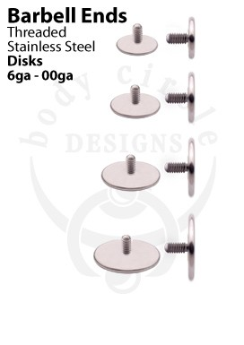 Replacement Barbell Ends - Large Gauge Disks - Stainless Steel