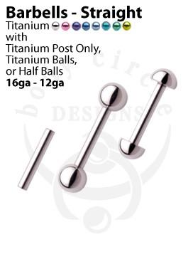 Straight Barbells -  Implant Grade Titanium
