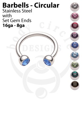 Circular Barbells - 316LVM Stainless Steel with Set Gem Ends