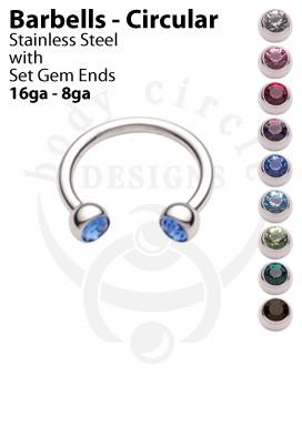 Circular Barbells - 316LVM Stainless Steel with Set Gem Ends