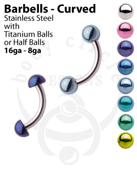 Curved Barbells - 316LVM Stainless Steel with Titanium Ball or Half Ball
