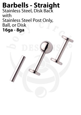 Disk Back Labret Barbells - 316LVM Stainless Steel with Ball or Disk