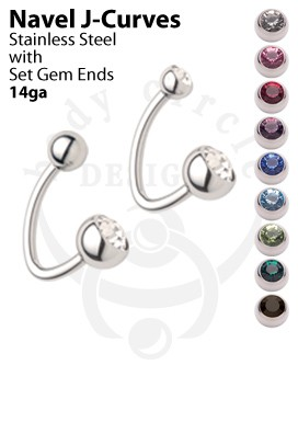 Navel J-Curves - 316LVM Stainless Steel with Set Gem Ends