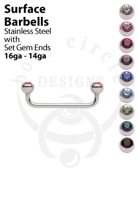 Surface Barbells - 316LVM Stainless Steel with Set Gem Ends