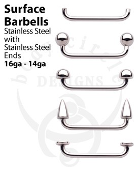 Surface Barbells - 316LVM Stainless Steel
