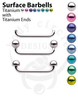 Surface Barbells - Implant Grade Titanium with Titanium Balls or Half Balls