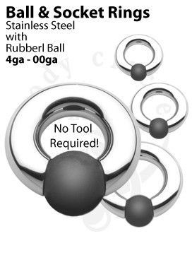 Rubber Ball and Socket Rings - 316LVM Stainless Steel with Rubber Ball