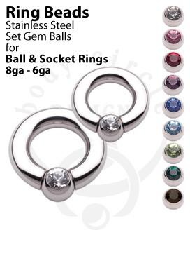 Replacement Set Gem Balls for Ball and Socket Rings