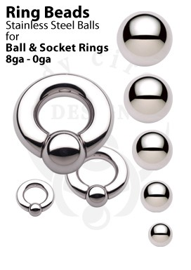 Replacement Balls for Ball and Socket Rings - 316LVM Stainless Steel