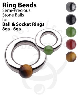 Replacement Semiprecious Stone Balls for Ball and Socket Rings
