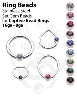 Replacement Set Gem Beads for Captive Bead Rings