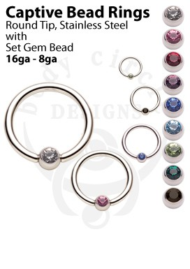 Captive Bead Rings - 316LVM Stainless Steel with Set Gem Bead