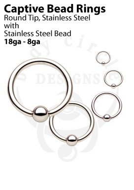Captive Bead Rings - 316LVM Stainless Steel with Stainless Steel Bead