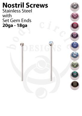 Nostril Screws - 316LVM Stainless Steel with Set Gem End