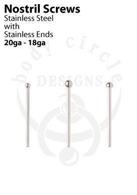 Nostril Screws - 316LVM Stainless Steel